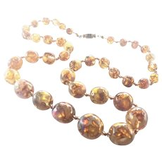 """Italian Murano Foiled Glass Necklace - 23 and 1/8"""""""