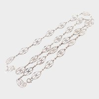 """French Antique Silver Pierced Necklace - 23"""""""