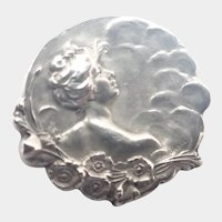 French Art Nouveau Silver Lady Pin - signed