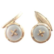 French Antique Gold Filled Mother of Pearl Cufflinks - MURAT