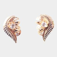 Vintage 1950's 18K Gold and Spinel Leaf Earrings