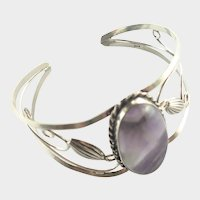 Sterling Silver Amethyst Pierced Cuff Bangle