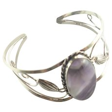 Sterling Silver Amethyst Pierced Cuff Bangle