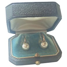 French Antique Faux Pearl Gold Plated Lever Back Earrings