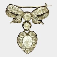 Victorian Circa 1850 Silver and Paste Heart/Bow Brooch