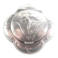 French Art Nouveau Silver Carnation Box Pendant
