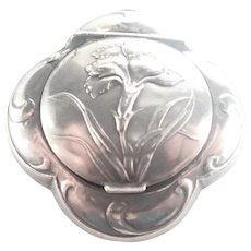 French Art Nouveau Silver Carnation Box Pendant