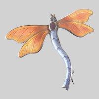 English Early Deco Silver Enamel Dragonfly Pin - JA&S