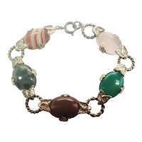 Scottish Sterling Silver Agates Bracelet