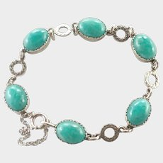 English Late Deco Agate and Sterling Silver Bracelet