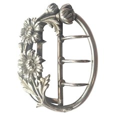 French Art Nouveau Silver Daisies Buckle
