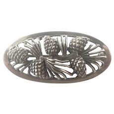 French Pine Cones Silver Pin