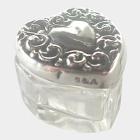 Victorian Silver and Glass Heart Shaped Pill or Rouge Pot
