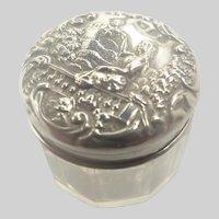 English Victorian Silver Repoussé Pill or Rouge Pot