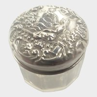English Victorian Silver Repoussé Pill or Rouge Pot