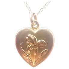 French Art Nouveau 18K Gold Filled Iris Heart Pendant Necklace - FIX