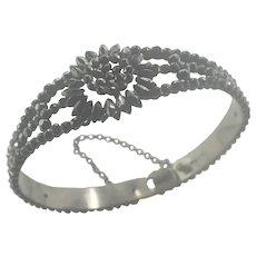 Victorian Cut Steel Daisy Bangle Bracelet
