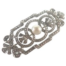 Art Deco Silver Marcasite and Pearl Pin
