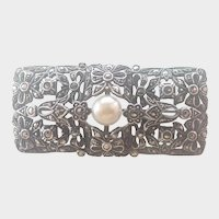 European Silver Marcasite and Pearl Pin