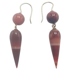 Victorian Scottish Banded Agate 9K Gold Drop earrings