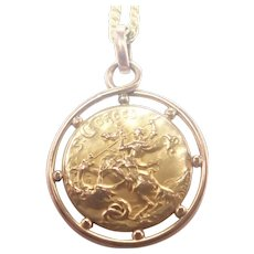 French St George Gold Filled 'FIX' Medallion and Chain - BECKER