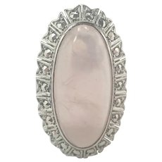 French Art Deco Silver Rose Quartz and Marcasite Ring