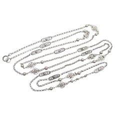 "French Antique Silver Decorative Guard Chain - 59"" - 31.3 grams"