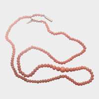 """Victorian Coral Necklace 16"""" with 9K Gold Clasp"""