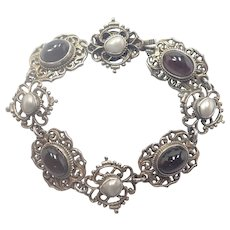 Austro-Hungarian 800 Silver Bracelet with Garnets and Pearls