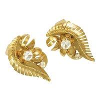 Vintage 1950's 18K Gold and Spinel Leaf Earrings