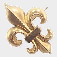 French Art Nouveau Gold Filled Fleur de Lis Pin - FIX