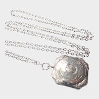 French Antique Silver Compact Pendant and Guard Chain