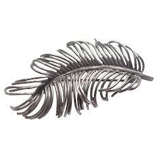 Vintage Sterling Silver Feather Pin