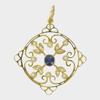 English Edwardian 15K Gold Sapphire Seed Pearl Pendant