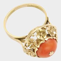Victorian 18K Gold Coral and Flowers Ring