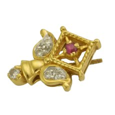 18K Gold Pink Spinel and Diamond Small Pin