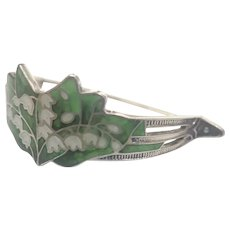 Art Nouveau Silver Enamel Lilly of Valley Scarf Pin - WATSON