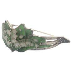 Art Nouveau Silver Enamel Lilly of Valley Scarf Pin - WATSON