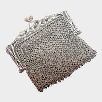 French Art Nouveau Silver Rosebud Mesh Purse