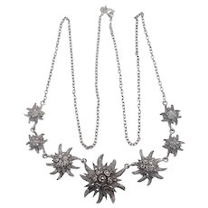 French Silver and Marcasite Eidelweiss Necklace