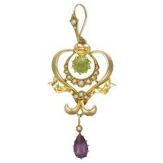 Suffragette Art Nouveau 18K Gold Peridot Amethyst Pendant