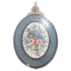 French Victorian Gold Plated Enamel Mirror Slide Pendant
