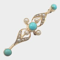 English Antique 15K Gold Turquoise and Pearl Pin