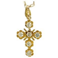 14K Gold and Spinels Cross and Chain