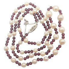 French 1910-1920 Pearl Garnet Necklace with 18K Diamond Clasp