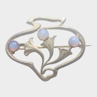 French Art Nouveau Silver Opaline Glass pin