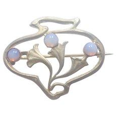 French Art Nouveau Silver Opaline Glass pin
