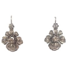 Georgian 9K White Gold with Diamonds Flower Earrings