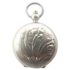 French Art Nouveau Silver Plated Iris Coin Holder Locket