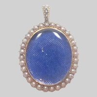 Victorian 15K Gold and Pearls Locket Back Pendant